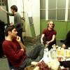 Kim, Axel Lindelauf, Xander de Buisonjé, Richard Ritterbeeks en Eric van oppen van Volumia! backstage in Amsterdam 15-12-2000