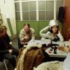Harold Mingels, Eric van Oppen, Birgit Ingen Housz en HP Nieskens van Volumia! backstage in Amsterdam 15-12-2000